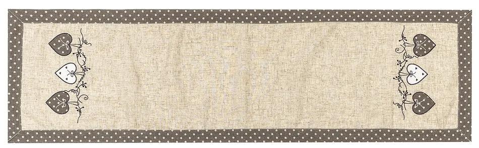 Faţă de masă Inimioare bulină, gri, 40 x 140 cm
