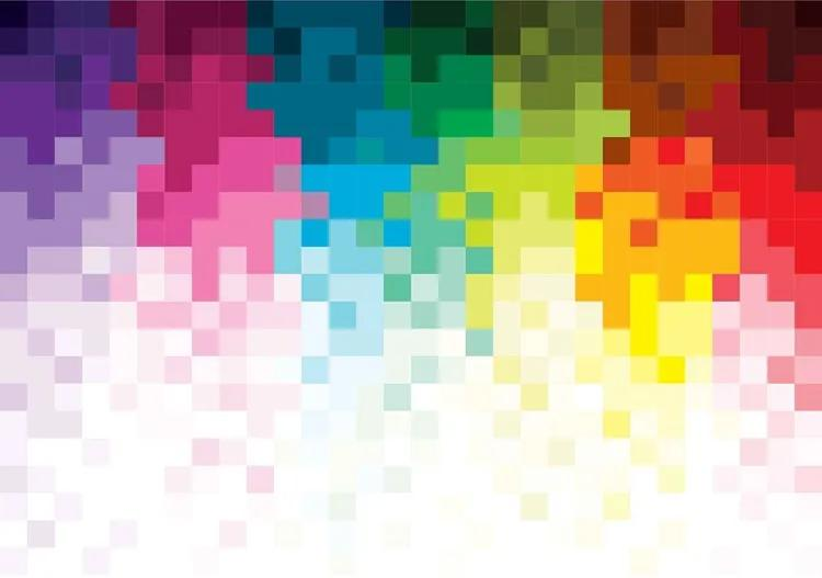 Rainbow Pattern Pixel Fototapet, (416 x 254 cm)