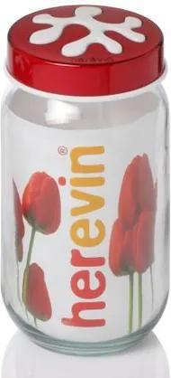 Borcan din sticla pentru conservare , cu capac, 1000 ml , HR135377 - rosu HR135377