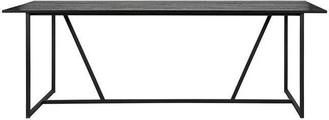 Masa neagra din lemn stejar si metal 220x90 cm Silas