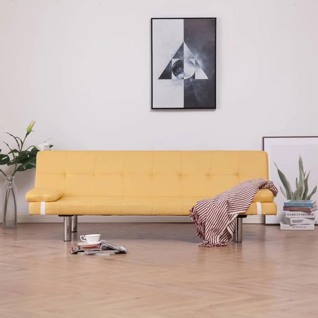 282190 vidaXL Canapea extensibilă cu două perne, galben, poliester