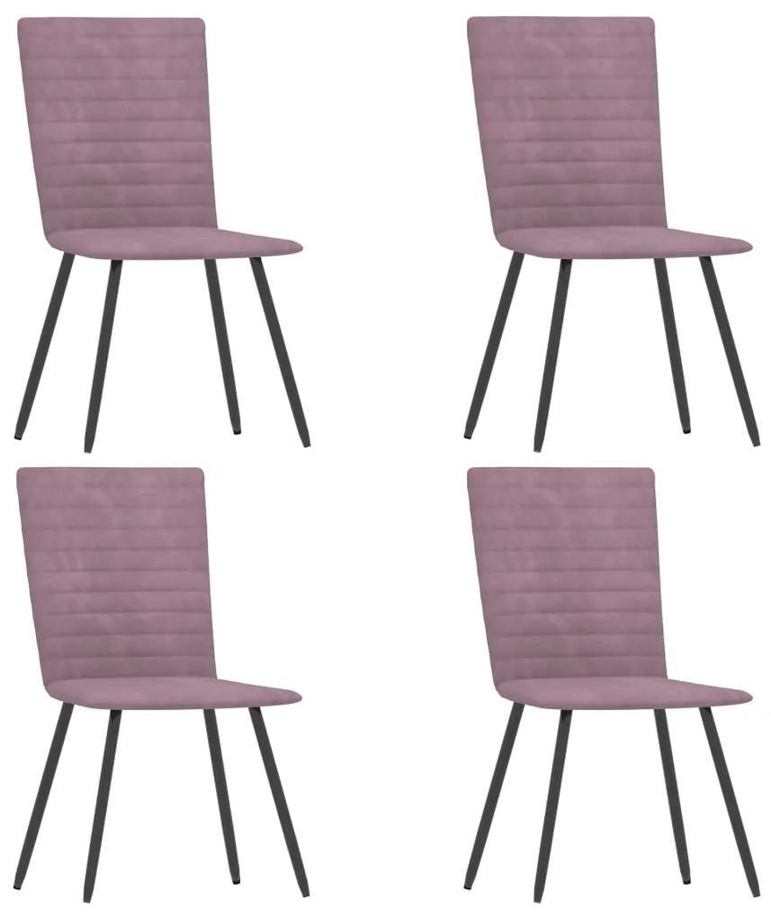 287813 vidaXL Scaune de bucătărie, 4 buc., roz, catifea