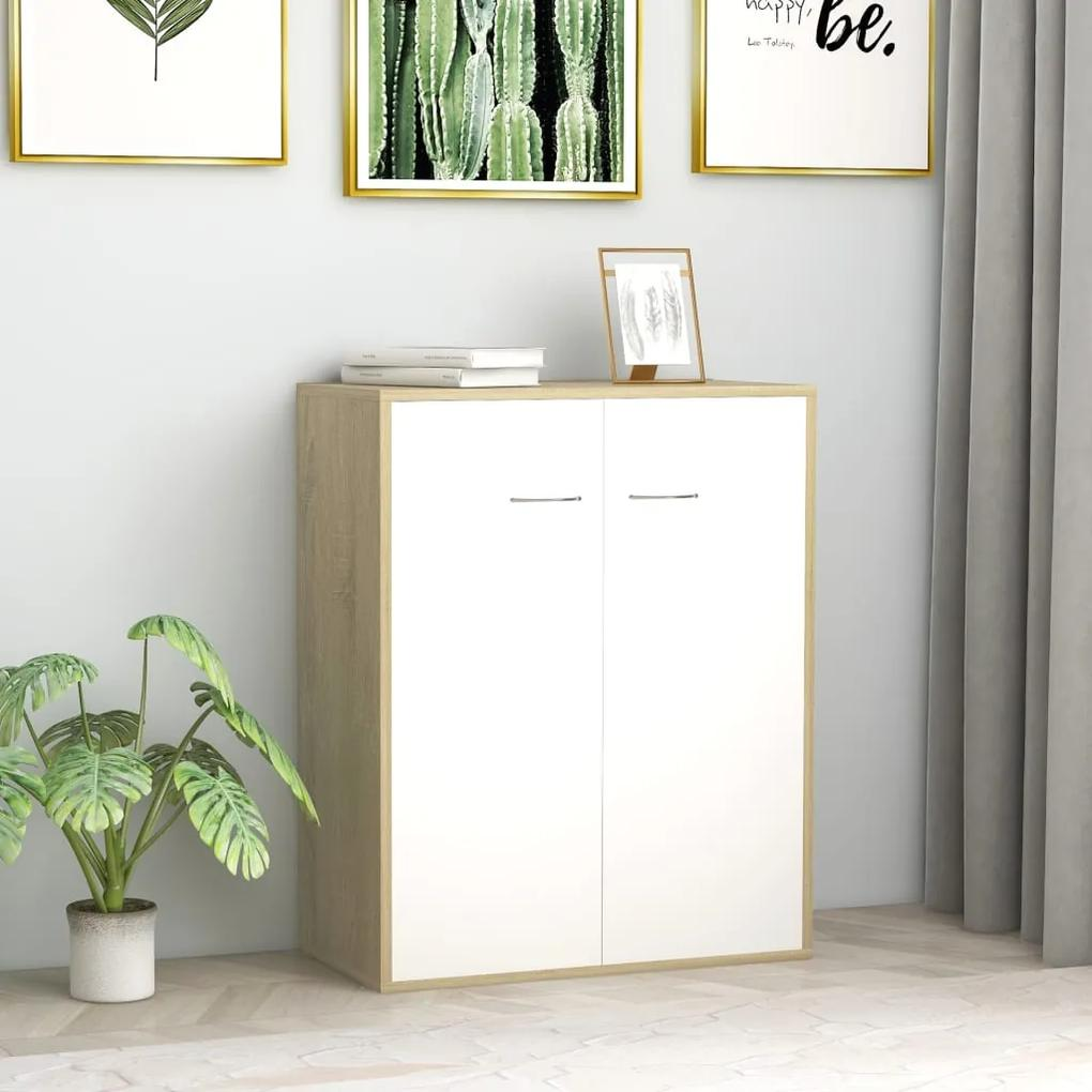800734 vidaXL Servantă, alb și stejar Sonoma, 60 x 30 x 75 cm, PAL