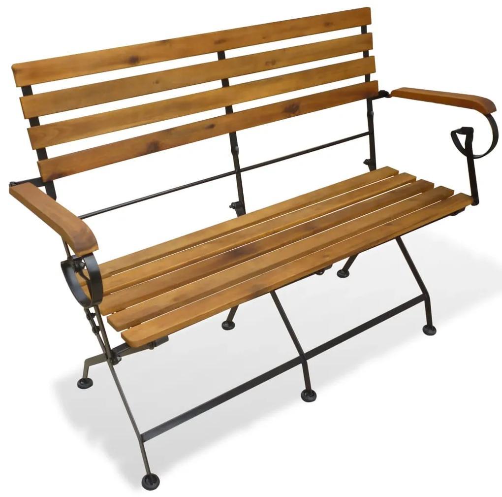 43736 vidaXL Bancă de grădină pliabilă, 112 cm, lemn masiv de acacia