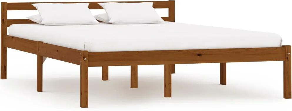 Cadru de pat, maro miere, 120 x 200 cm, lemn masiv de pin