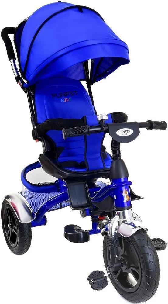 Tricicleta Carucior pentru copii cu scaun rotativ, copertina, cos, maner parental, suport picioare pliabil, culoare albastru