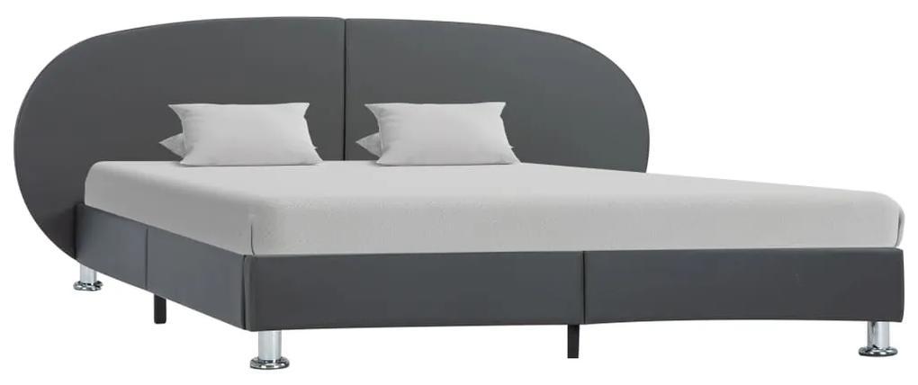 285416 vidaXL Cadru de pat, gri, 120 x 200 cm, piele ecologică