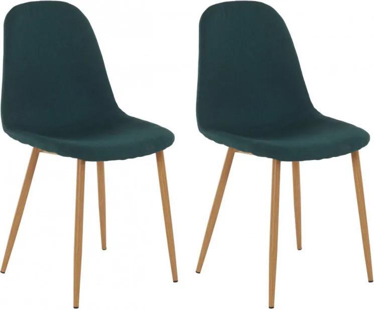 Set de 2 scaune Miller, tesatura/metal/decor stejar, verde inchis, 44x52x87 cm