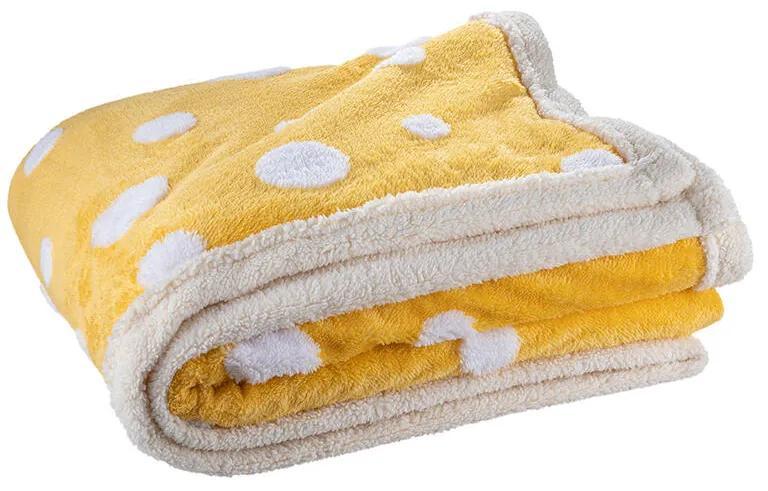 Pătură cu blăniţă din microfibră HAPPY DOTS MUSTARD, 140 x 200 cm