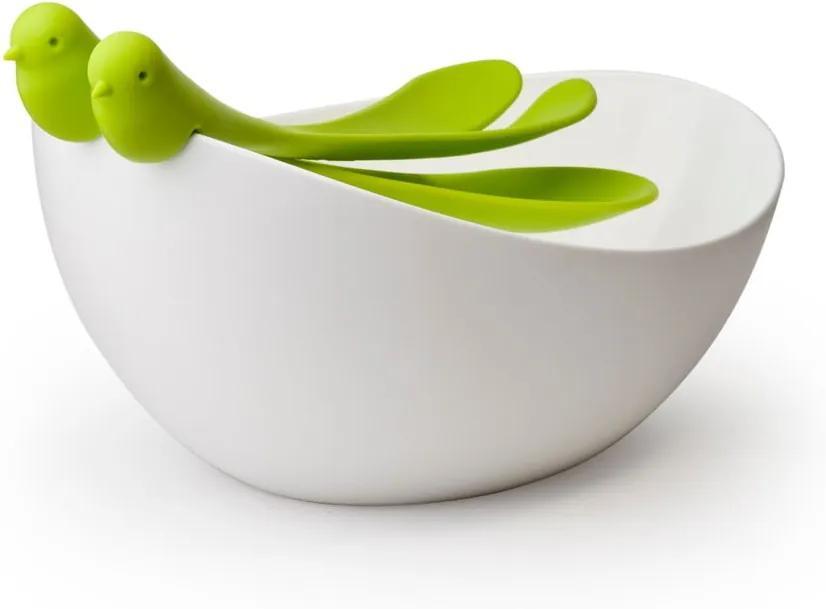 Set de salată cu bol Qualy&CO Salad Bowl, alb - verde