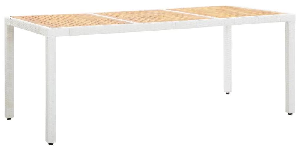 45988 vidaXL Masă de grădină, alb,190 x 90 x 75 cm, poliratan & lemn acacia