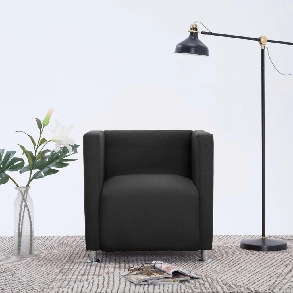 282149 vidaXL Fotoliu cubic, negru, material textil