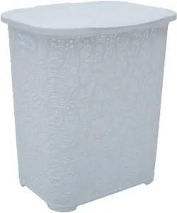 Cos de rufe TUFFEX, plastic rattan, 45 L, Elegant alb dantelat TP8006-ALB