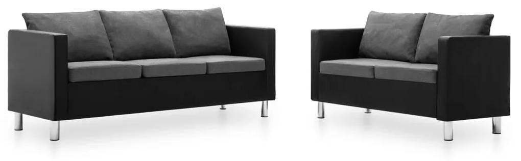 275505 vidaXL Set canapele, 2 piese, piele ecologică, negru și gri deschis