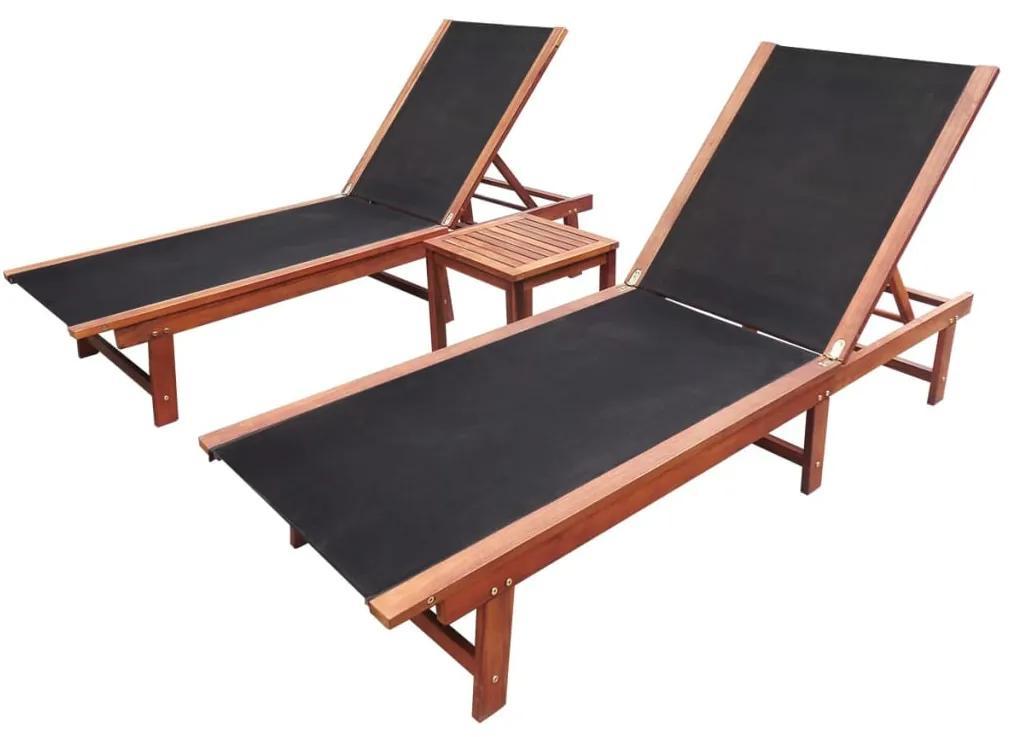 273752 vidaXL Șezlonguri de plajă cu masă 2 buc. lemn masiv acacia textilenă
