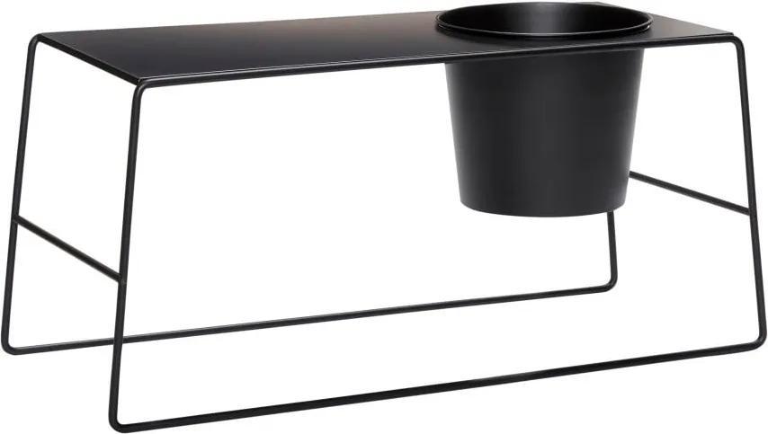 Masă de cafea metalică cu ghiveci incorporat Hübsch Metal, negru