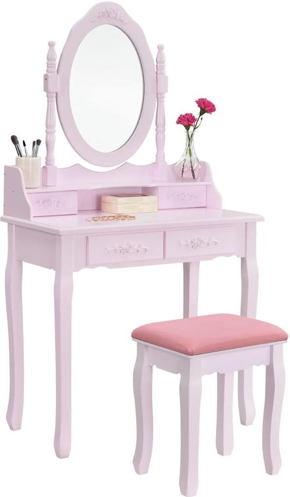 Set Julieta, Masă de toaletă cu oglindă, 4 sertare, scaun, Roz