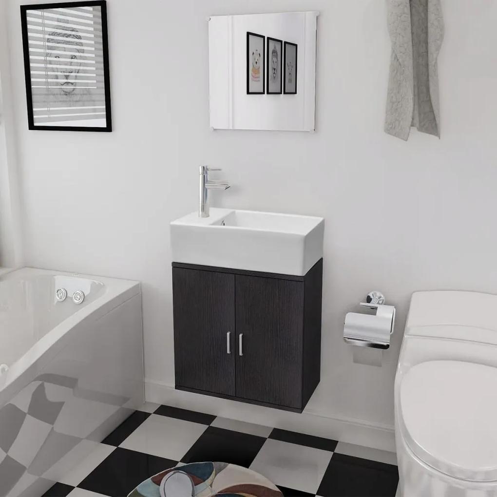 Set mobilier baie format din 3 piese cu chiuveta inclusa, Negru