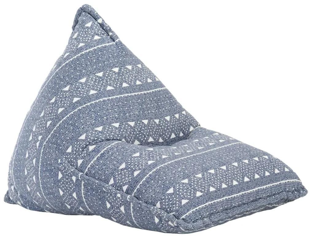287731 vidaXL Canapea tip sac, indigo, material textil, petice