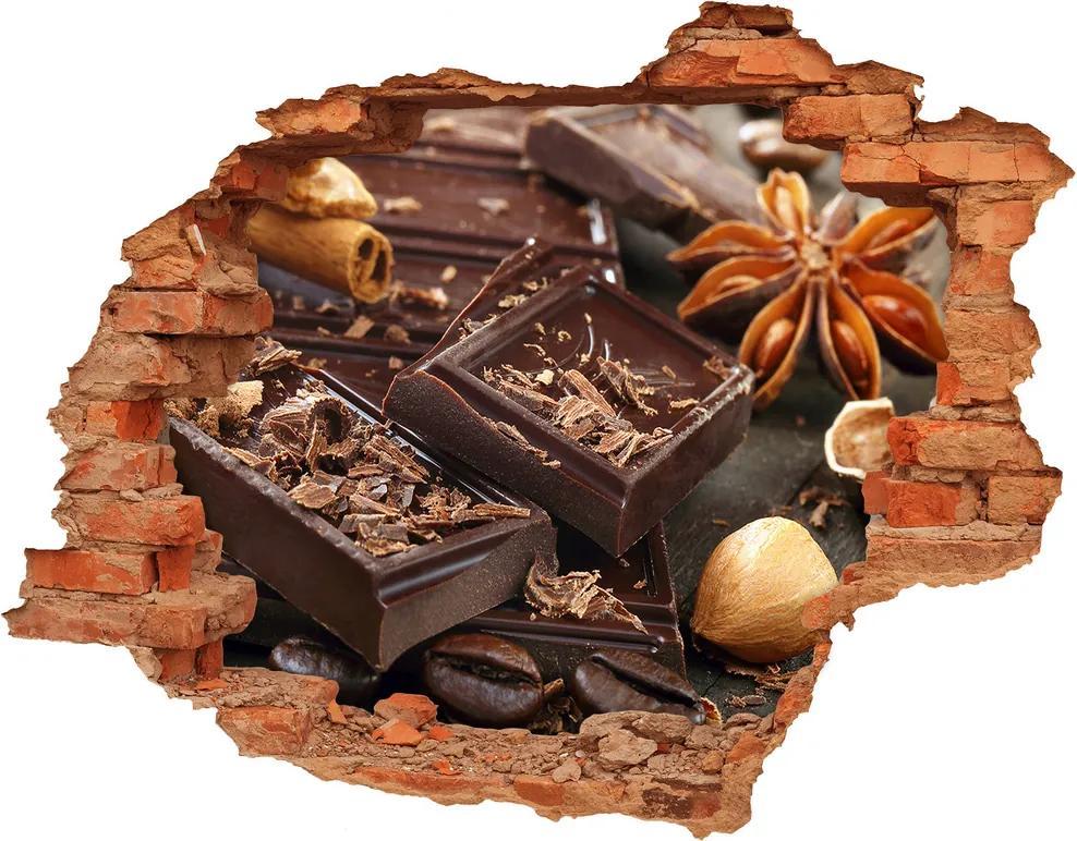 Nálepka 3D diera betón Čokoláda