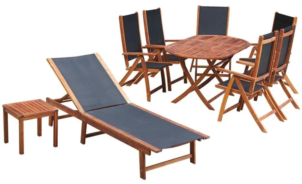 42649 vidaXL Set mobilier de exterior cu perne 9 piese, lemn masiv de acacia