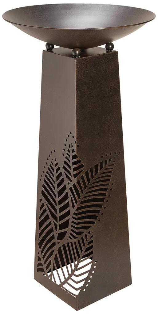 Suport flori Leaves , metal, maro, 117x58 cm
