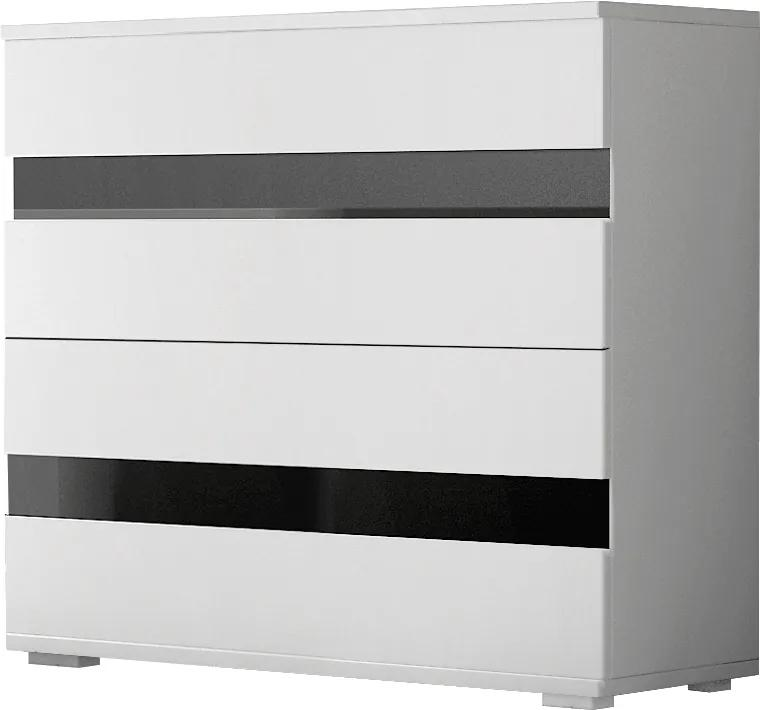 Comoda din pal cu 2 sertare LUCCA 4S WHITE 90x90x43 cm