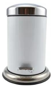 Cos de gunoi cu pedala, alb, plastic inox, 3 L, Perfect Home
