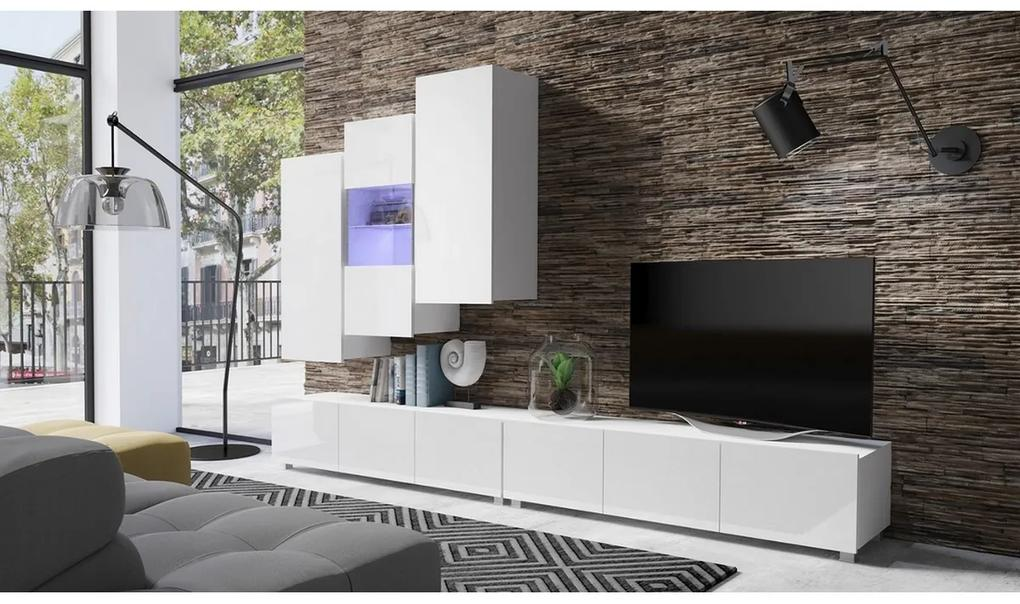 Expedo Mobilă sufragerie BRINICA NR 17, alb/alb luciu + LED albastru