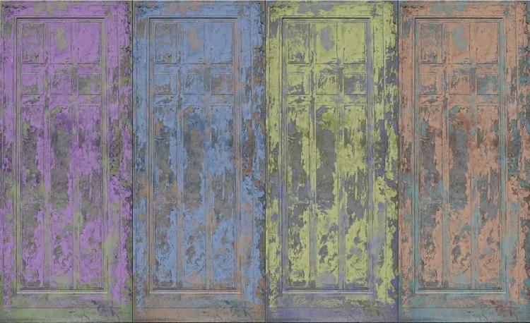 Rustic Painted Wood Doors Fototapet, (312 x 219 cm)