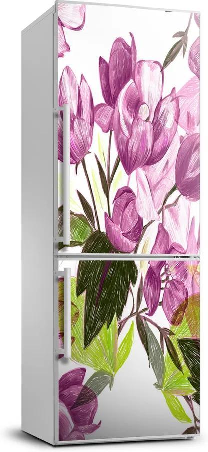 Autocolant pe frigider Flori roșii