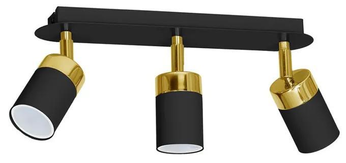 Lustra Plafon JOKER BLACK/GOLD Milagro Modern, GU10, Auriu/Negru, MLP6125, Polonia
