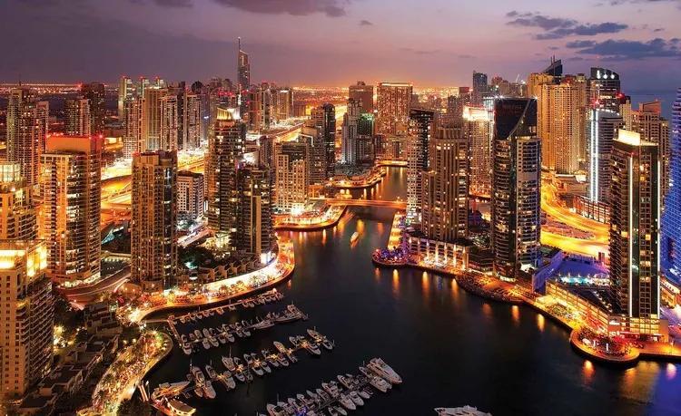 City Dubai Marina Skyline Fototapet, (312 x 219 cm)
