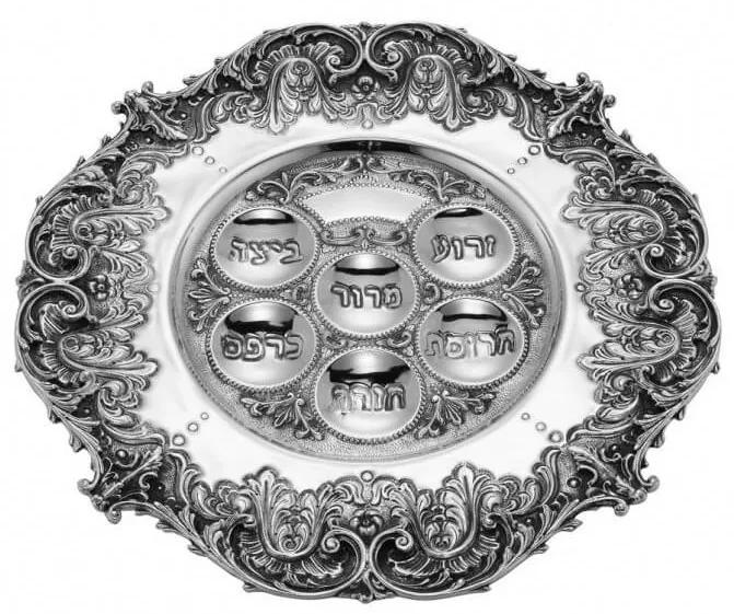 Platou Seder argint masiv Acanthus