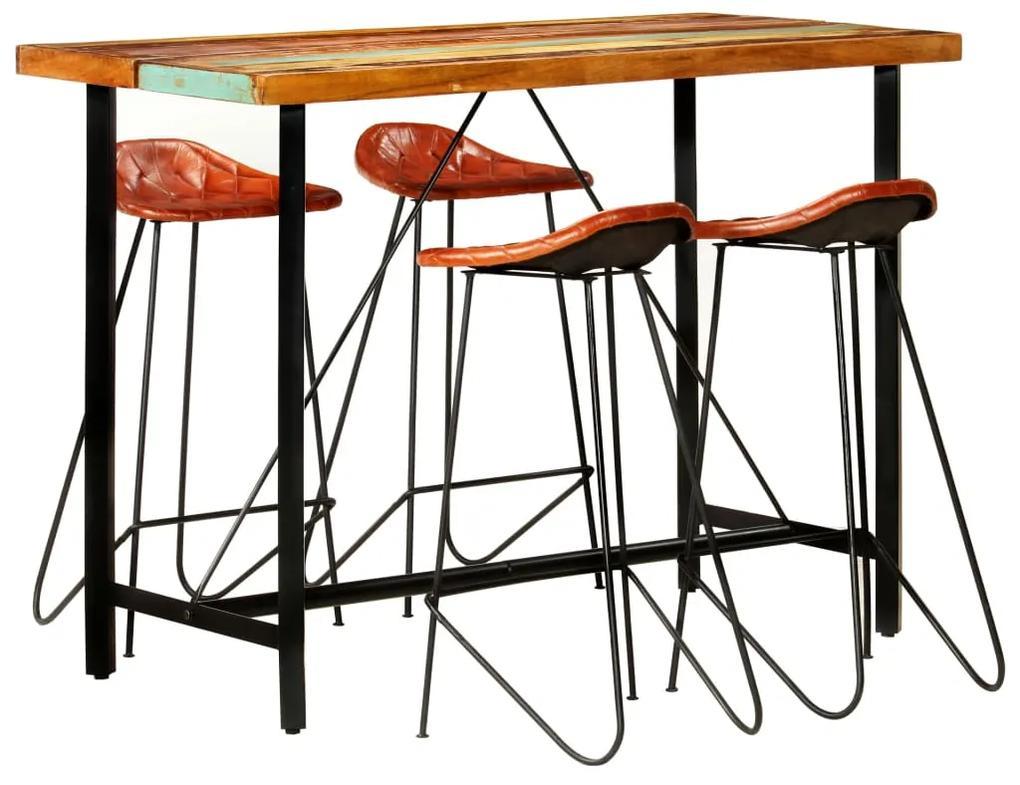278765 vidaXL Set mobilier de bar, 5 piese, lemn reciclat și piele naturală