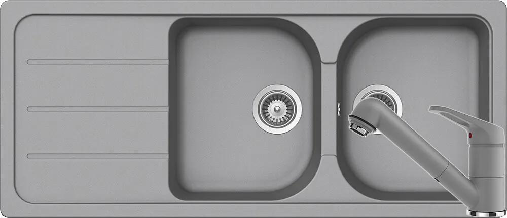 Set Chiuveta Schock Formhaus D-200 1160 x 500 mm si Baterie Schock Cosmo cu Dus Extractibil Croma Cristalite