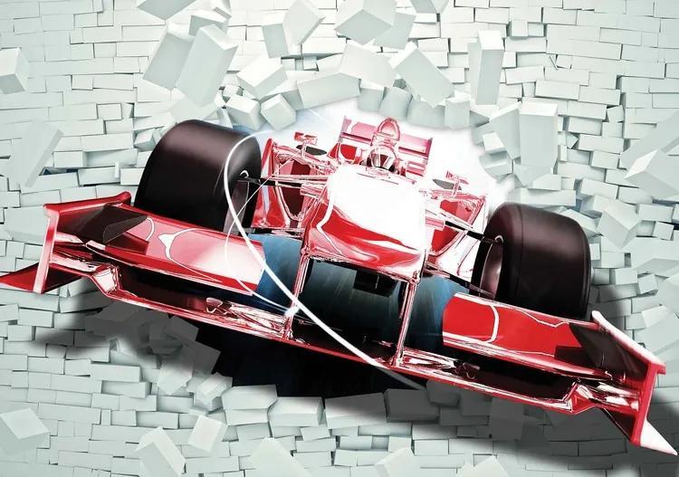 Formula 1 Racing Car Bricks Fototapet, (416 x 254 cm)