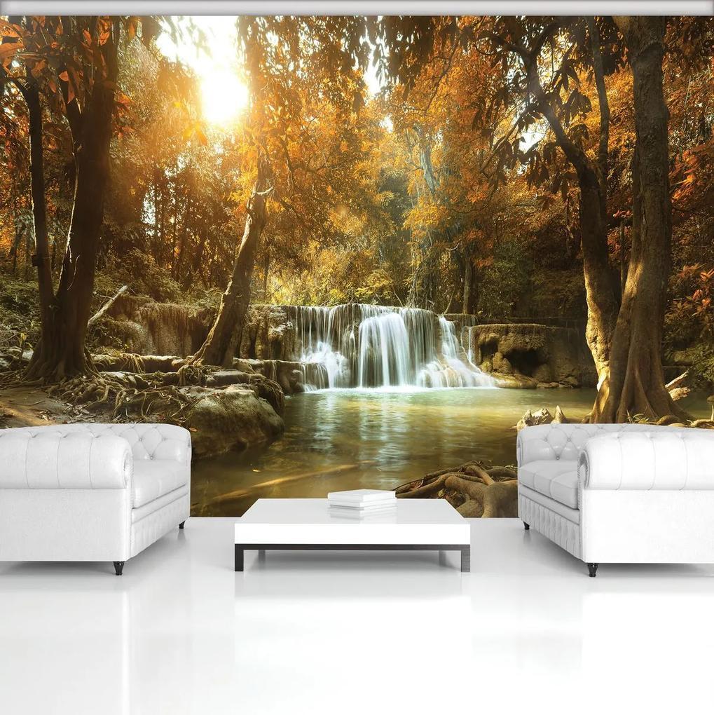 Fototapet - Cascada în pădurea de toamnă (152,5x104 cm), în 8 de alte dimensiuni noi