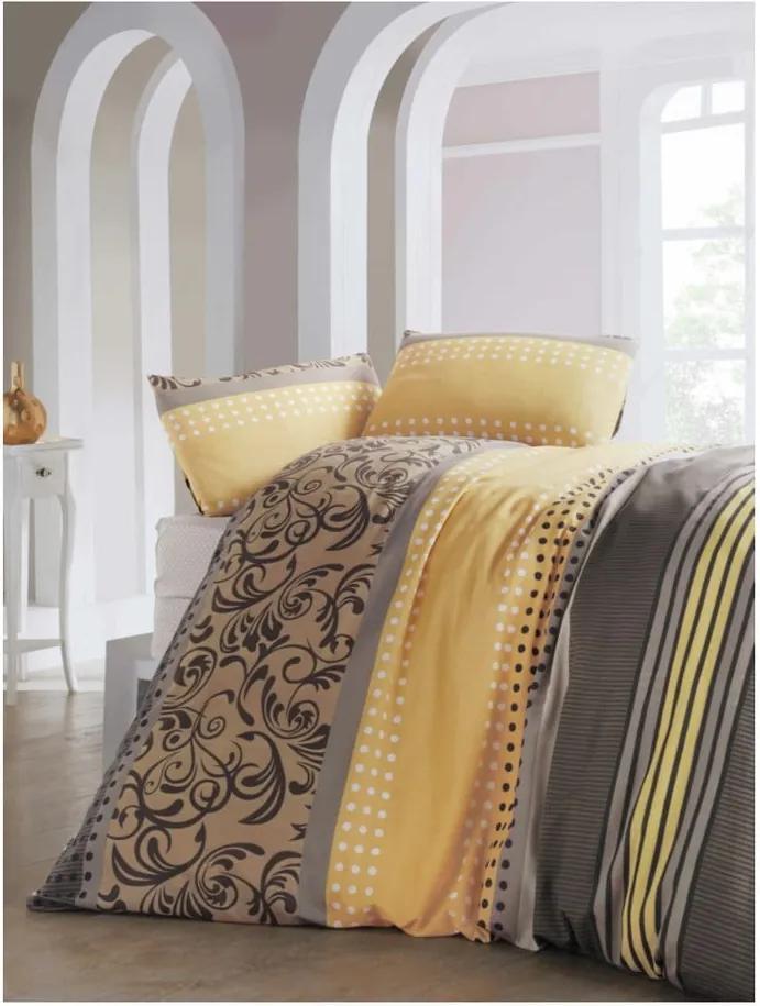 Lenjerie și cearșaf din amestec de bumbac pentru pat dublu Miranda Yellow, 200 x 220 cm