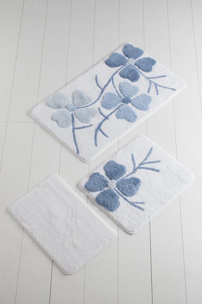 Set 3 Covorase de Baie - Flower Albastru