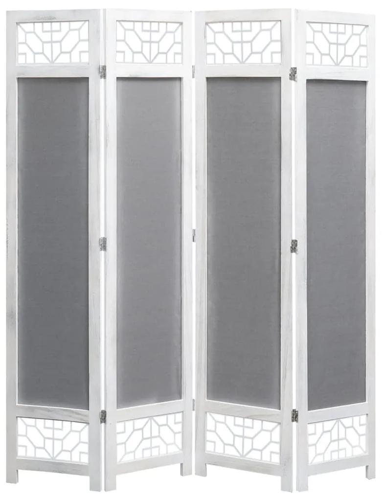 284184 vidaXL Paravan de cameră cu 4 panouri, gri, 140 x 165 cm, textil