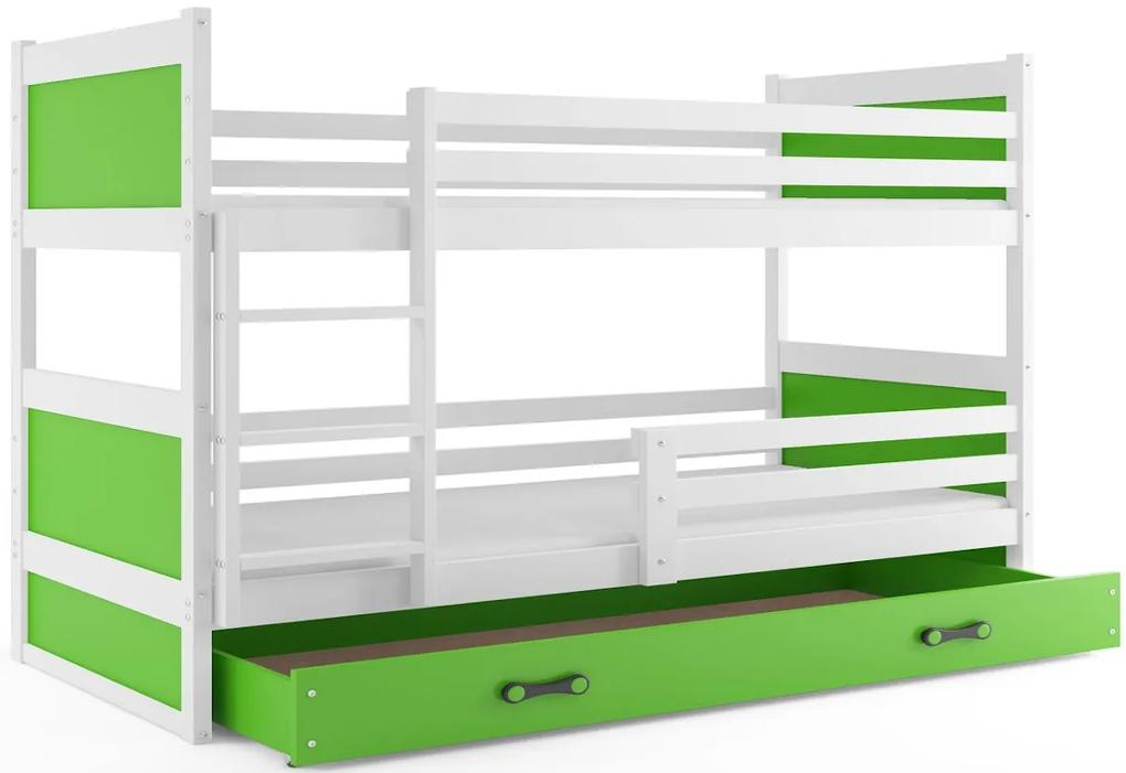 Expedo Pat supraetajat FIONA 2 COLOR + SD + saltea + somieră GRATIS, 90x200 cm, alb, verde