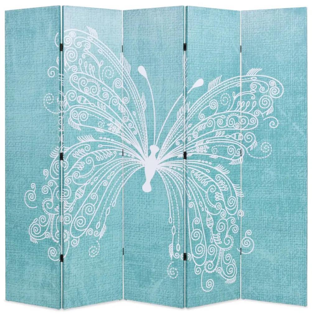 245887 vidaXL Paravan cameră pliabil, albastru, 200 x 170 cm, fluture