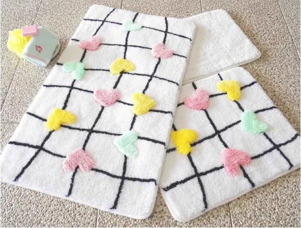 Set 3 covorașe de baie Confetti Bathmats Hearts