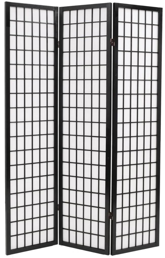 245897 vidaXL Paravan pliabil cu 3 panouri, 120x170 cm, negru, stil japonez
