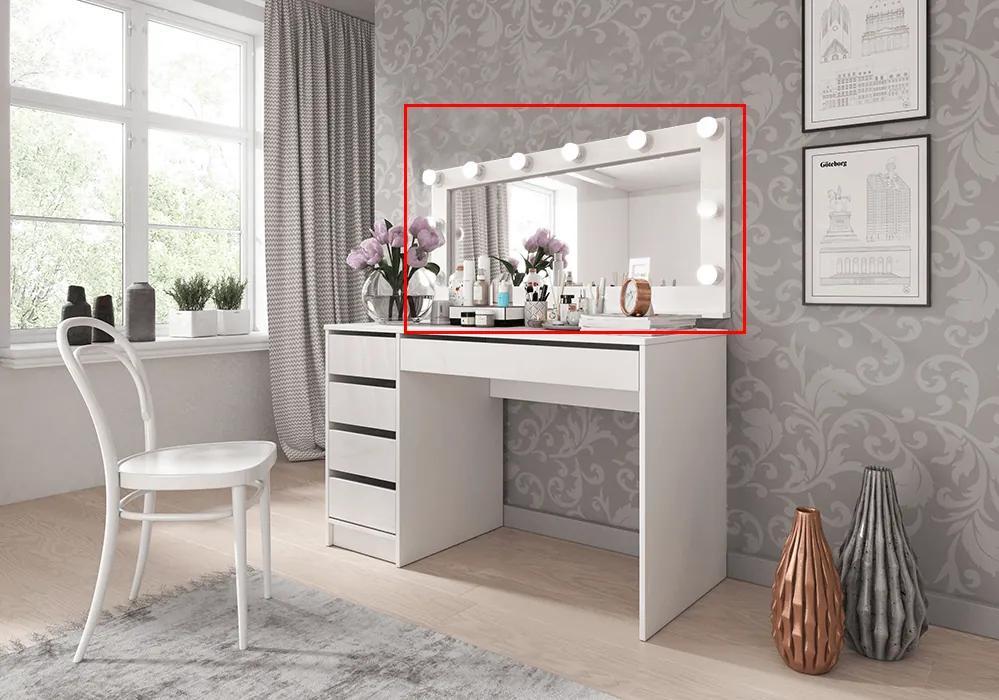 Oglindă cu iluminare, alb, DAKOTA