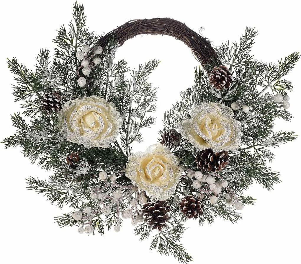 Coronita Craciun lemn decorata cu trandafiri si crengute brad cm 50 x 40 H
