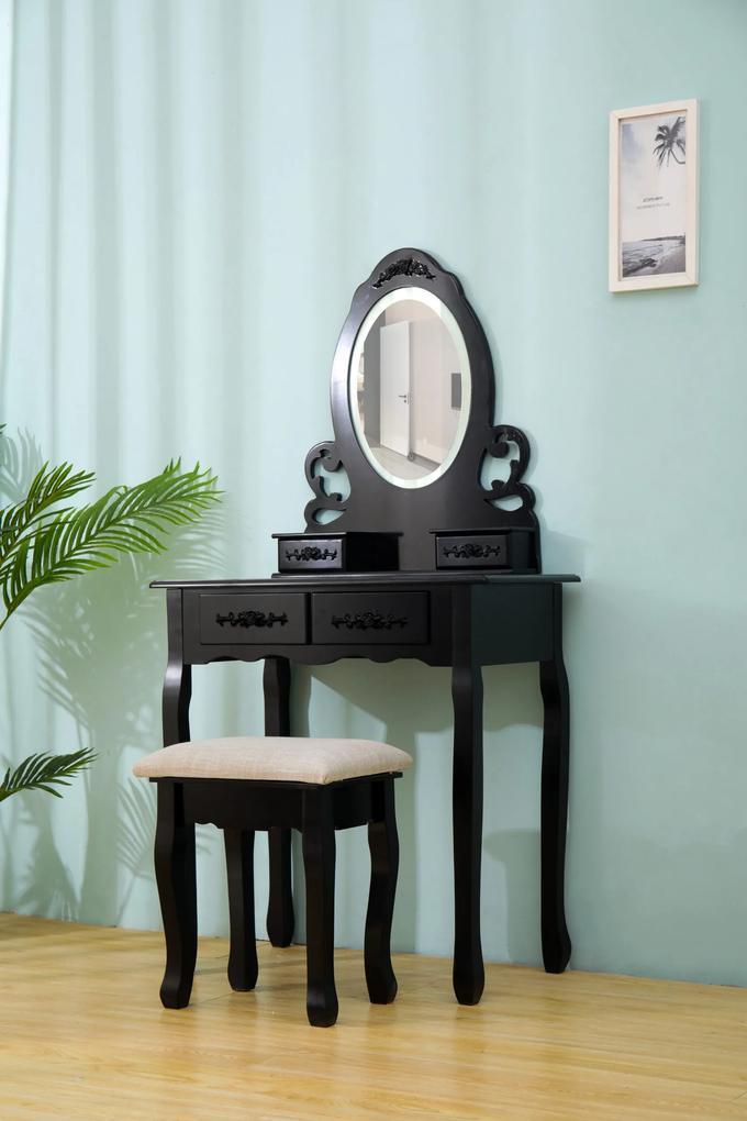 Set Eva, Masă de toaletă cu oglindă iluminată bandă LED, control touch, 4 sertare, scaun, Negru