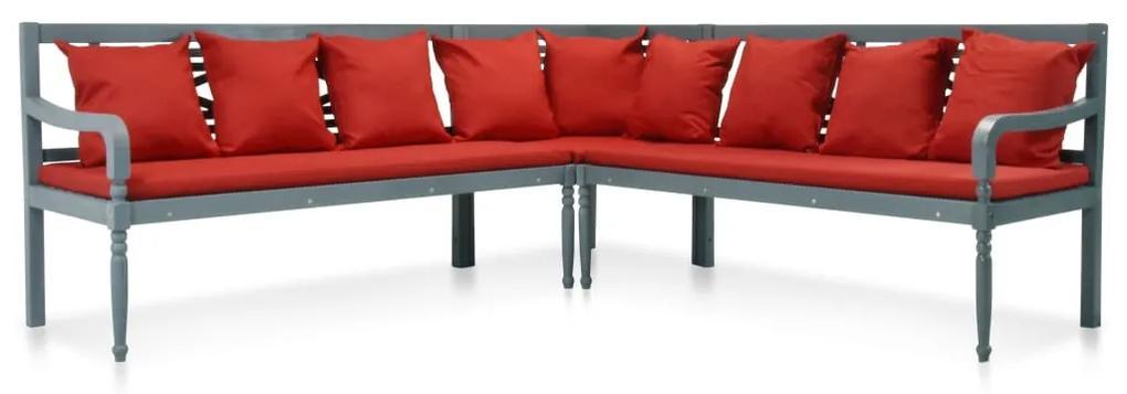 43697 vidaXL Set mobilier de grădină, 3 piese, gri/roșu, lemn masiv acacia