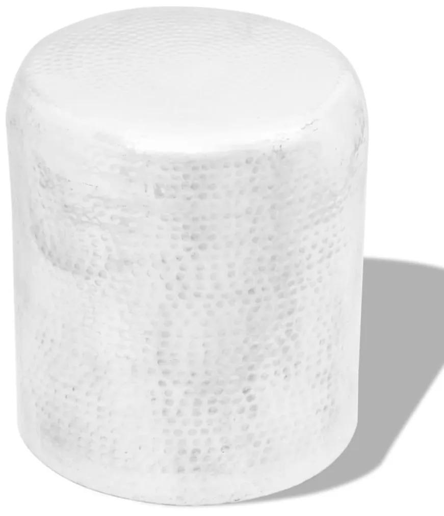 242326 vidaXL Scaun/Masă laterală din aluminiu bătut la ciocan, argintiu